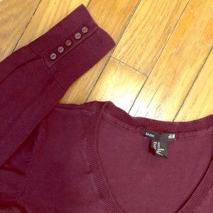 Knit Top | H&M V-neck Long Sleeve (Plum)